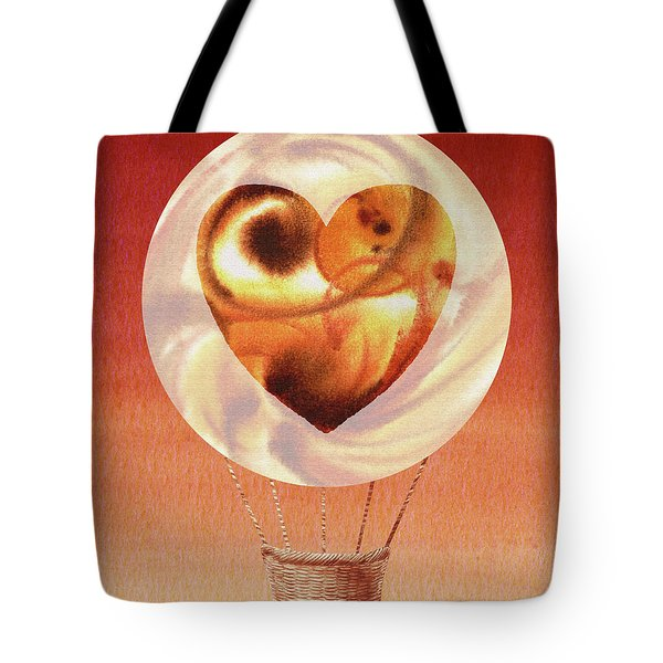 Happy Heart Hot Air Balloon Watercolor Vi Tote Bag