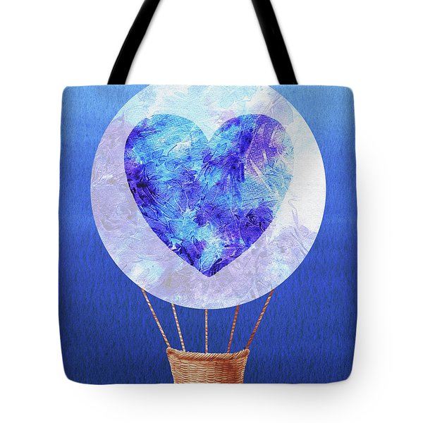 Happy Heart Hot Air Balloon Watercolor Vii Tote Bag
