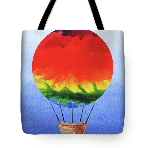 Happy Hot Air Balloon Watercolor I  Tote Bag