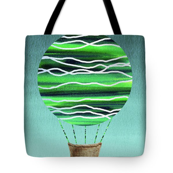 Happy Hot Air Balloon Watercolor X Tote Bag