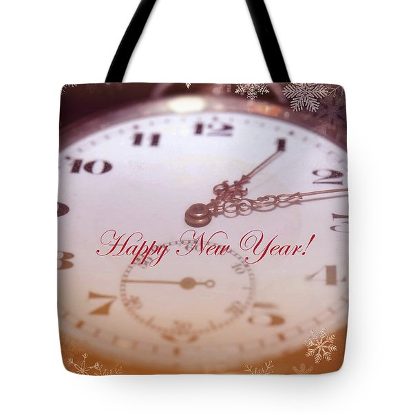 Happy New Year With Decorative And Nostalgic Theme. Tote Bag