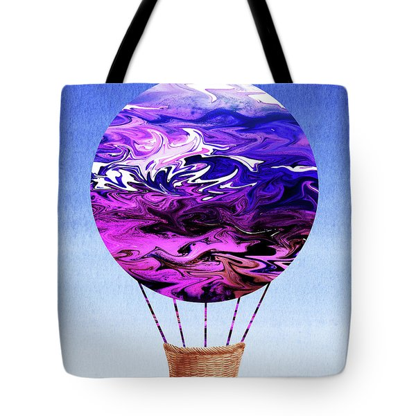 Happy Purple Hot Air Balloon Watercolor Xix Tote Bag