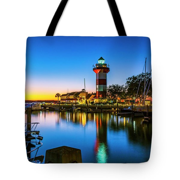 Harbor Town Lighthouse - Blue Hour Tote Bag