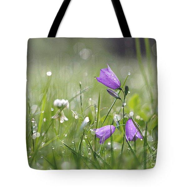 Harebells And Water Drops Tote Bag