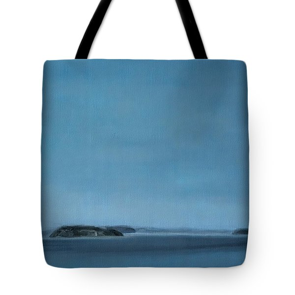 Tote Bag featuring the painting Hat Island View From Harborview Park by J Reynolds Dail