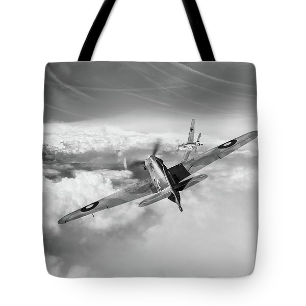 Tote Bag featuring the photograph Hawker Hurricane Deflection Shot Bw Version by Gary Eason