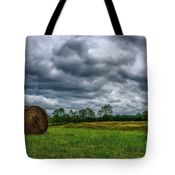 Hay Bale And Stormy Sky Tote Bag