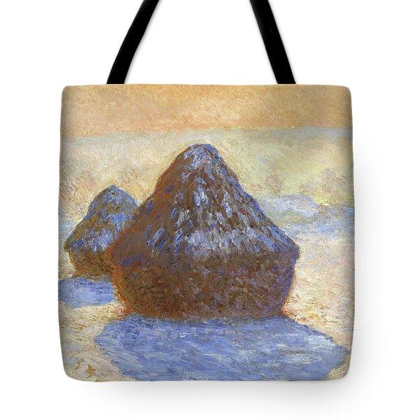Haystacks, Snow Effect - Digital Remastered Edition Tote Bag