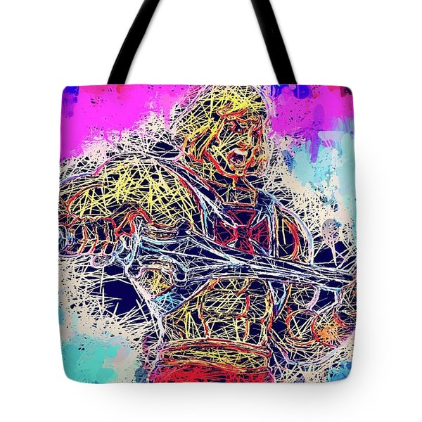Tote Bag featuring the mixed media He - Man by Al Matra