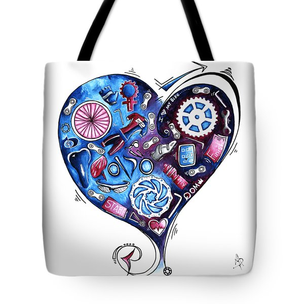 Heart Racing A Mad Shredder Biking Cycling Painting By Megan Duncanson Tote Bag