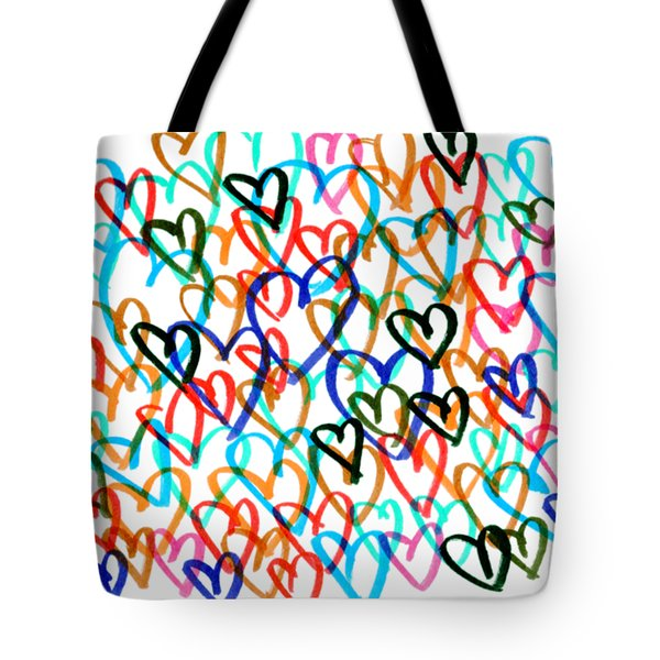 Tote Bag featuring the drawing Hearts by Bee-Bee Deigner