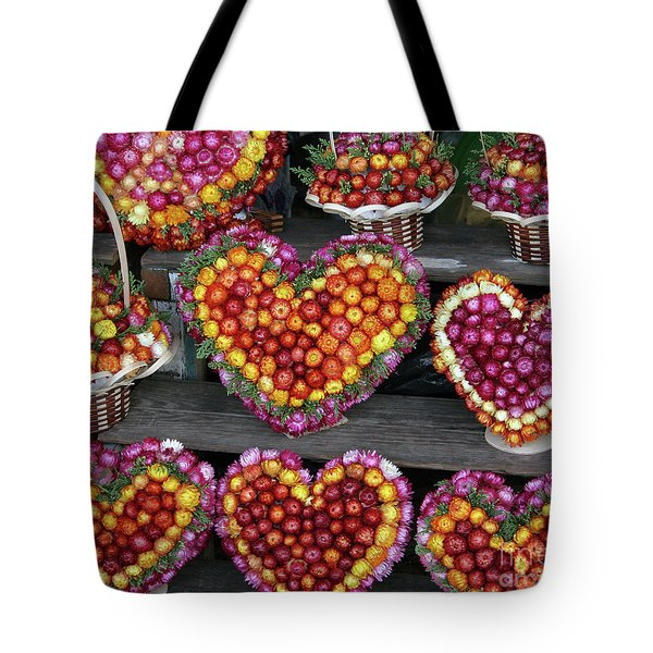 Tote Bag featuring the photograph Hearts Of Flowers by PJ Boylan