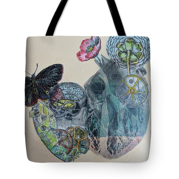 Tote Bag featuring the mixed media Heartsong by Jillian Goldberg