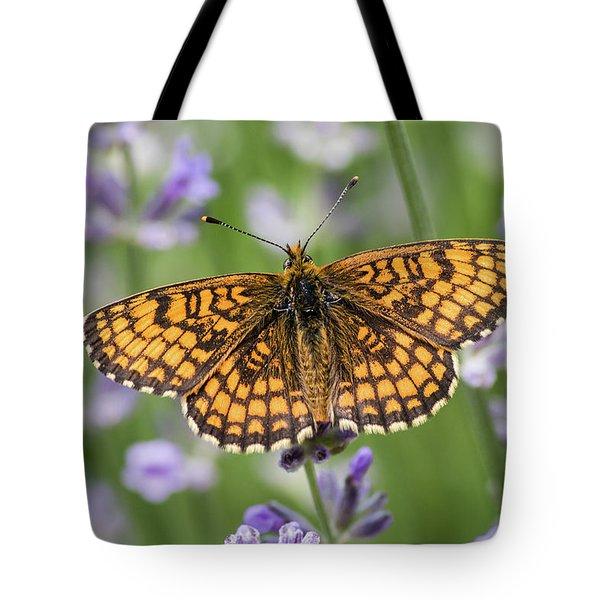 Heath Fritillary On The Lavender Tote Bag