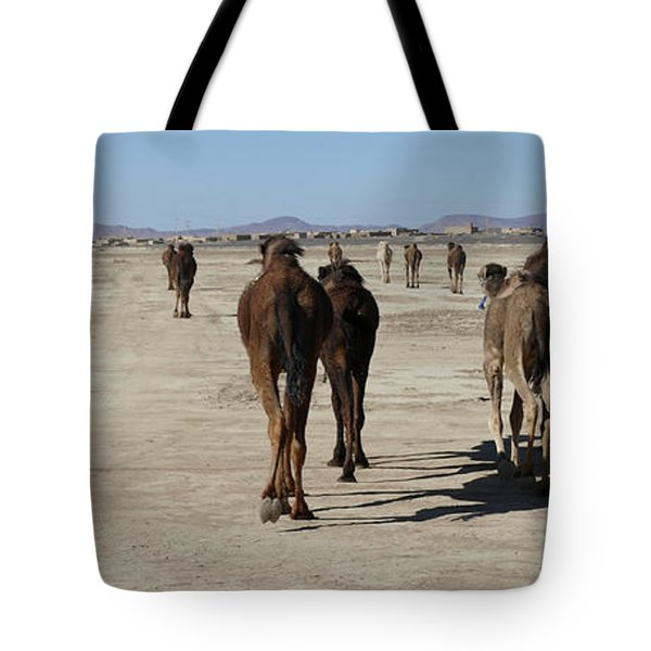 Herd Of Camels Crossing The Highway Near  Rissani Tote Bag