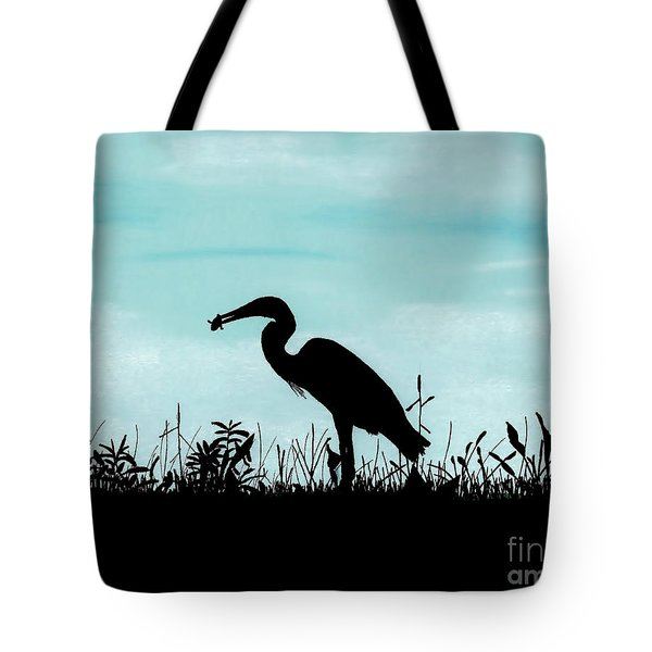 Heron Has Supper Tote Bag
