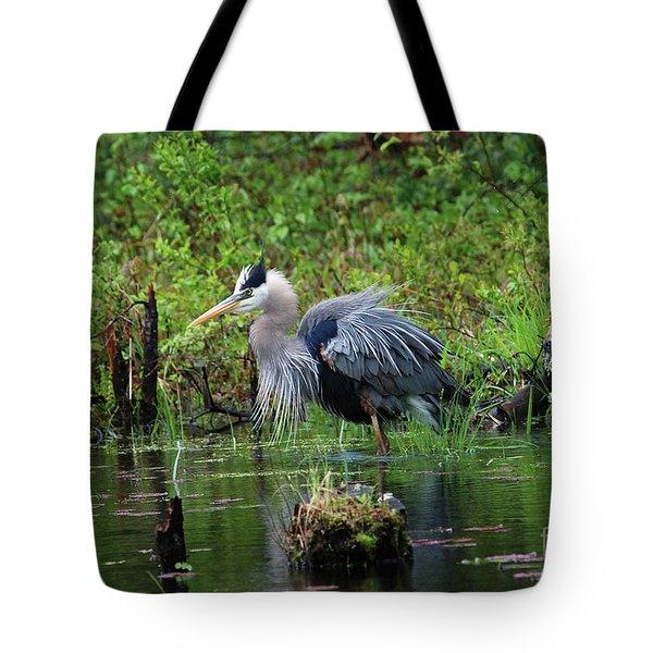 Heron In Beaver Pond Tote Bag