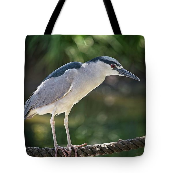 Tote Bag featuring the photograph Heron On A Rope by T A Davies