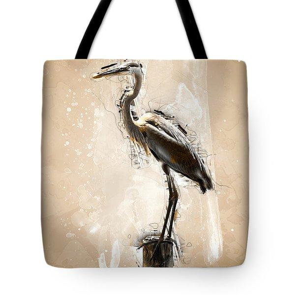 Heron On Post Tote Bag
