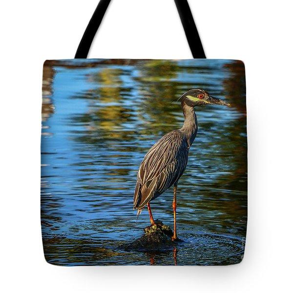Heron On Rock Tote Bag