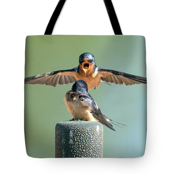 Hey, Babe, Let's Rock N Roll.  Barn Swallows Tote Bag