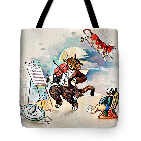 Tote Bag featuring the digital art Hey Diddle Diddle by Pennie McCracken