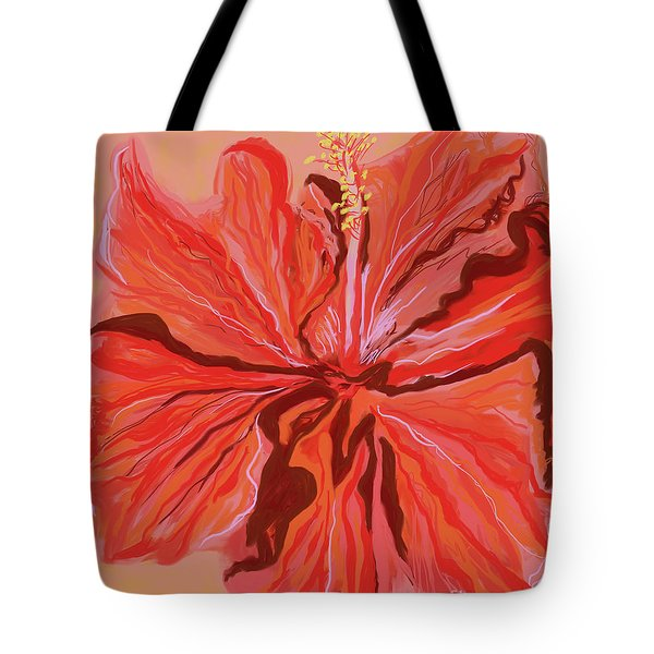 Hibiscus Color Lines Tote Bag