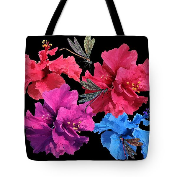 Hibiscus Dragonfly Tote Bag
