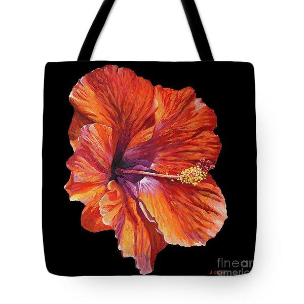 Hibiscus On Black Square Tote Bag