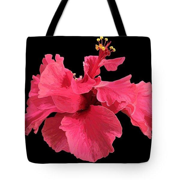 Hibiscus Pink In Black Tote Bag
