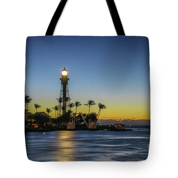 Tote Bag featuring the photograph Hillsboro Light Reflection by Tom Claud