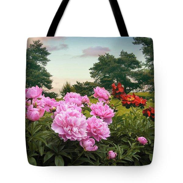 Hillside Peonies Tote Bag