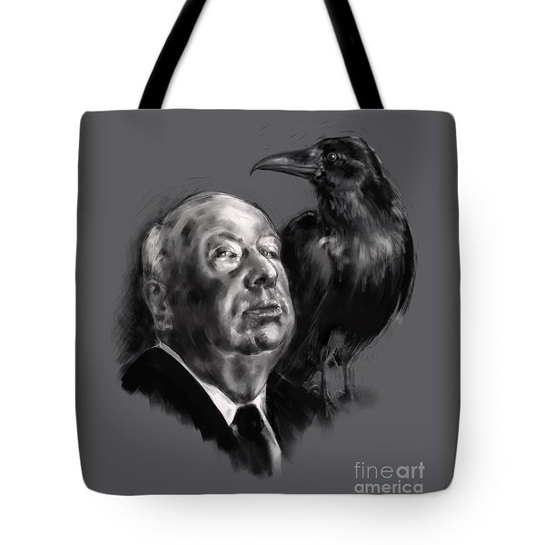 Tote Bag featuring the digital art Hitchcock by Lora Serra