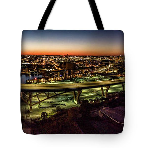 Tote Bag featuring the photograph Hoan Bridge At Dusk Panorama by Randy Scherkenbach