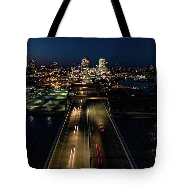 Tote Bag featuring the photograph Hoan Bridge Streaks by Randy Scherkenbach