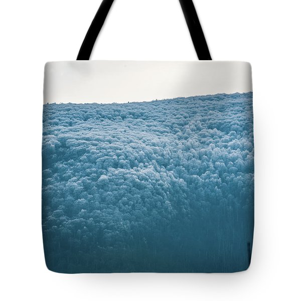Hoarfrost Blue Mountain Tote Bag