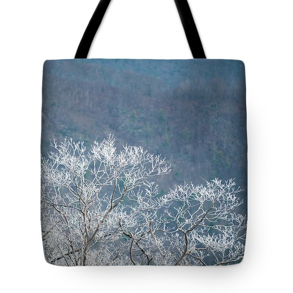 Hoarfrost Collects On Branches Tote Bag