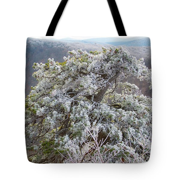 Hoarfrost On Trees Tote Bag