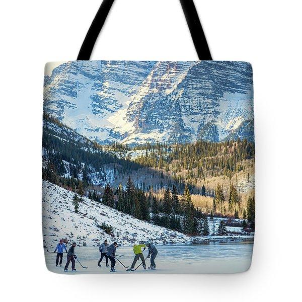 Hockey On Maroon Lake Maroon Bells Aspen Colorado Tote Bag