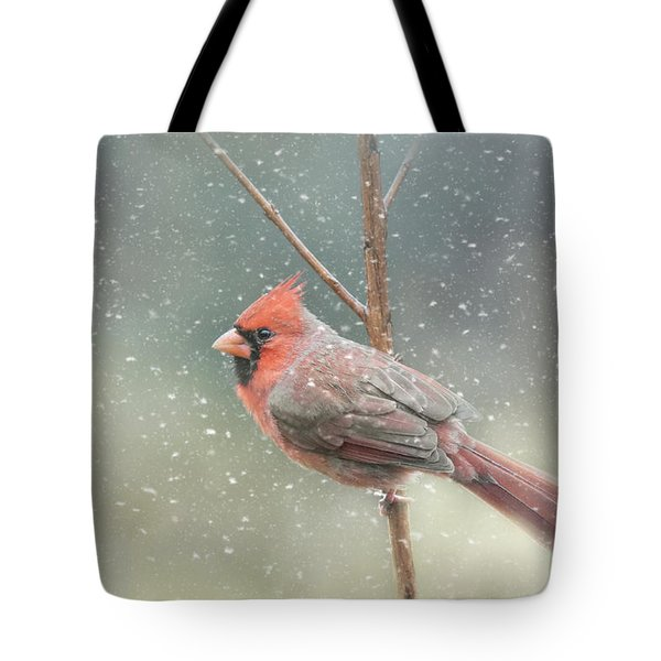 Tote Bag featuring the photograph Hold On Baby It's Snowing by Jai Johnson