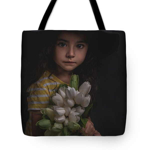 Holding The Tulips Tote Bag