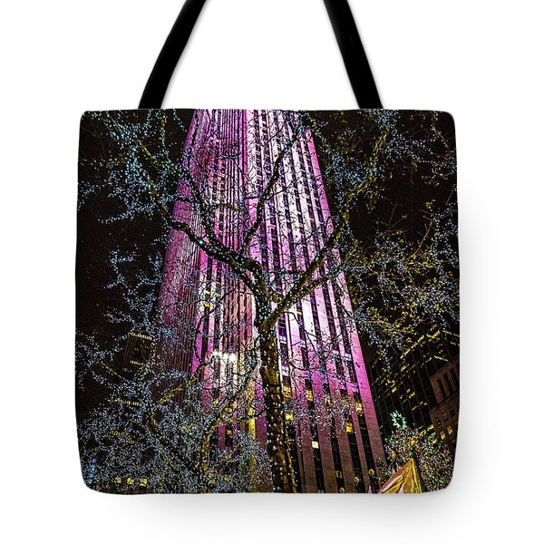 Tote Bag featuring the photograph Holiday At 30 Rock by Chris Lord