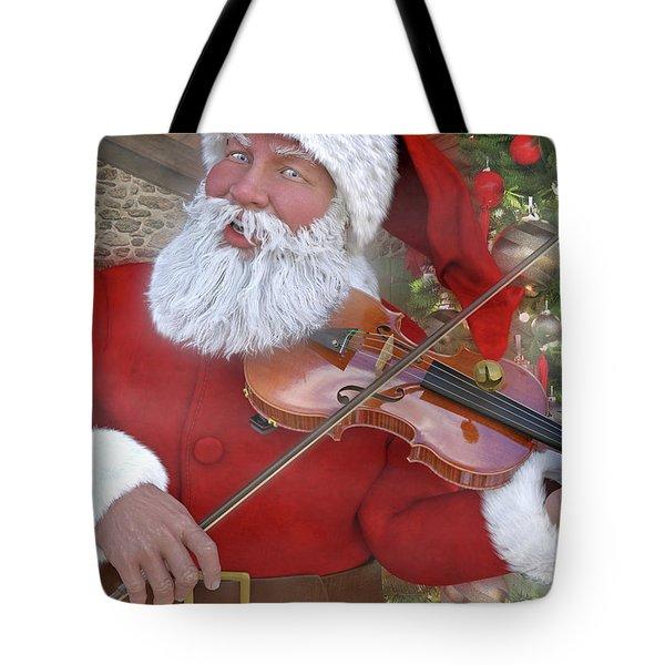 Holiday Santa Playing Violin Custom Tote Bag