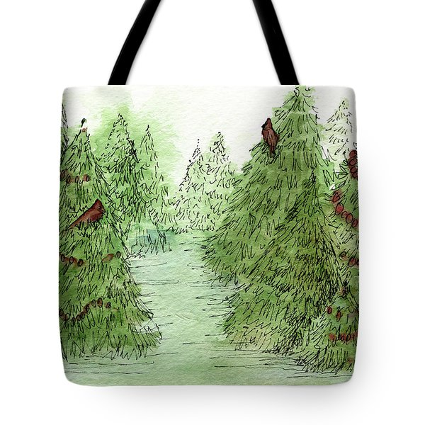 Holiday Trees Woodland Landscape Illustration Tote Bag