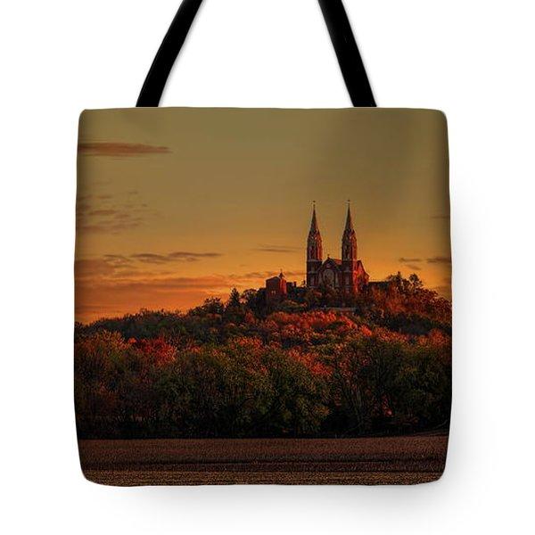 Holy Hill Sunrise Panorama Tote Bag