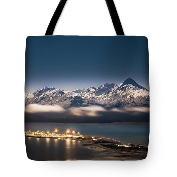 Homer Spit With Moonlit Mountains Tote Bag