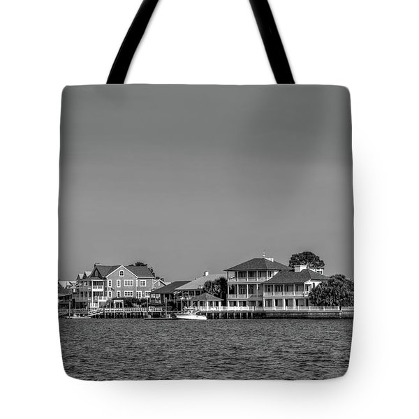 Homes Across The Water In Morning In Black And White Tote Bag