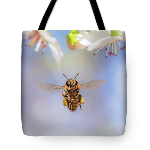 Honeybee Suspended On Air Tote Bag