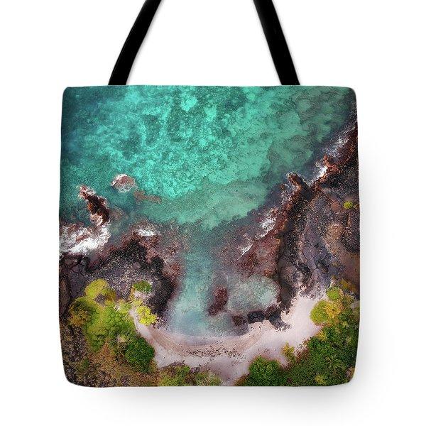 Honokohau Harbor Beach Aerial Tote Bag
