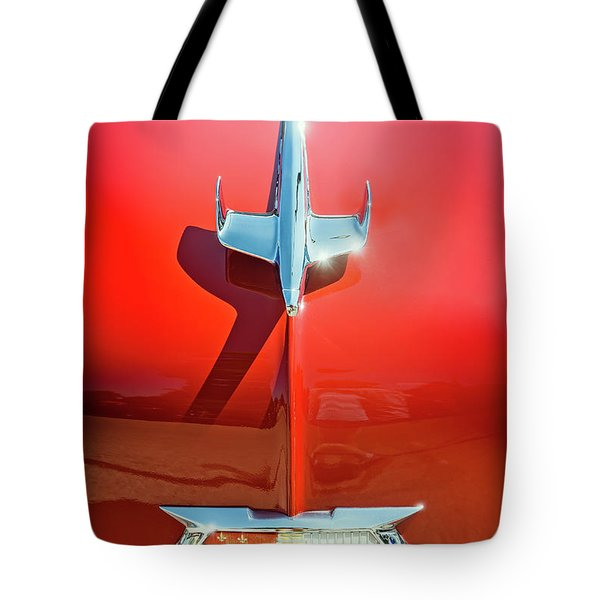 Hood Ornament On A Red 55 Chevy Tote Bag